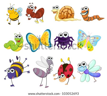 Illustration of a group of bugs - stock vector