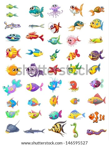 Illustration of a group of different fishes on a white background  - stock vector
