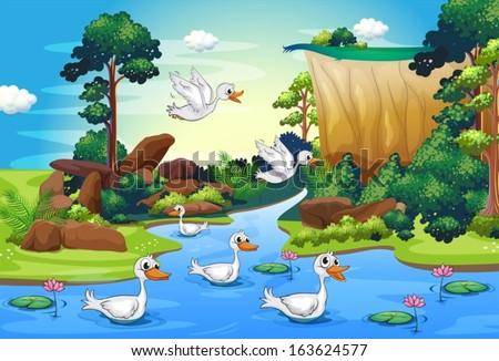 Illustration of a group of ducks at the river in the forest - stock vector