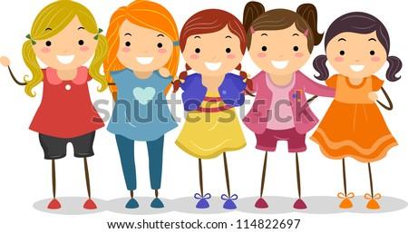 a Group of Girls Huddled Group Of Girlfriends Cartoon