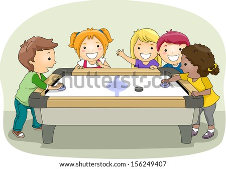 Illustration of a Group of Kids Playing Air Hockey - stock vector