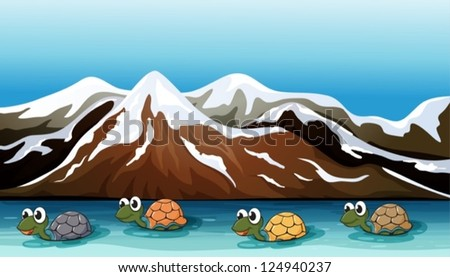 Illustration of a group of turtles moving slowly - stock vector