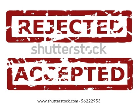 Illustration of a grunge rubber ink stamp: Rejected, accepted; dark red stamps on white background - stock vector