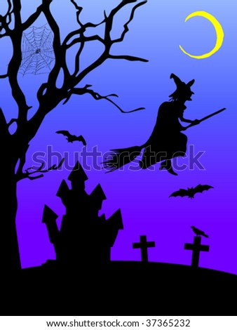 illustration of a halloween scene, with moon, graves, bats, haunted house, tree and witch. Vector file available - stock vector