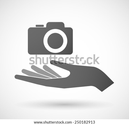 Illustration of a hand giving a photo camera - stock vector