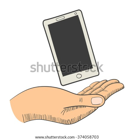 Illustration of a hand with a smart phone - stock vector