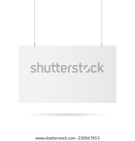 Illustration of a hanging sign isolated on a white background. - stock vector
