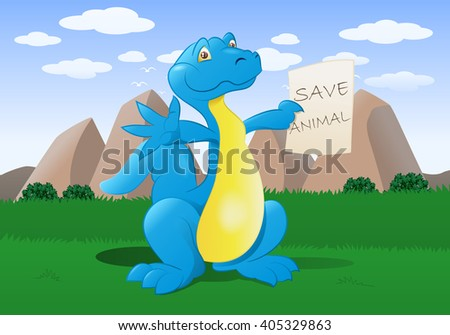 illustration of a happy big dinosaur hold save animal sign on nature background - stock vector