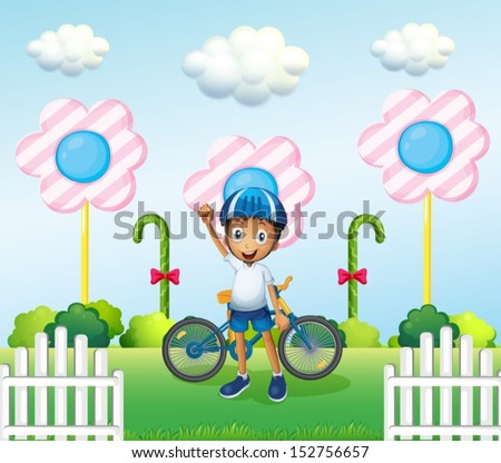 Illustration of a happy boy at the candyland with his bike - stock vector