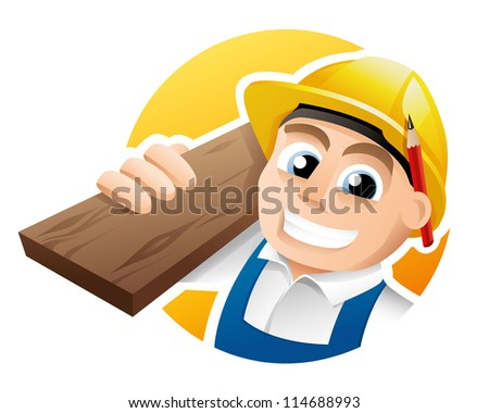 Illustration of a happy carpenter wearing hard hat and overalls - stock vector