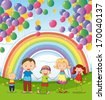 Illustration of a happy family under the floating balloons with a rainbow - stock vector
