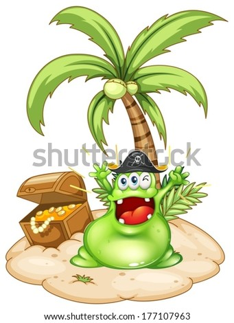 Illustration of a happy green monster in an island with a treasure box on a white background - stock vector