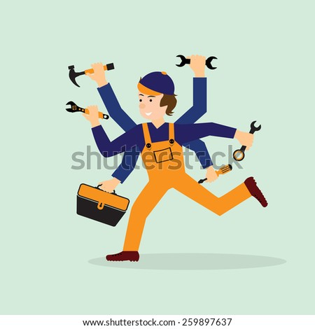 Illustration of a happy mechanic or handyman in work clothes. Mechanik in a hurry to your aid. - stock vector