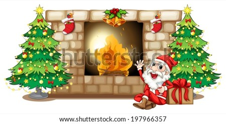 Illustration of a happy Santa near the fireplace on a white background - stock vector