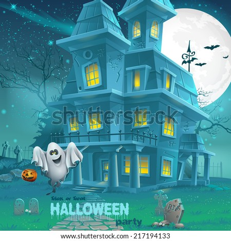 Illustration of a haunted house for Halloween for a party with ghosts - stock vector