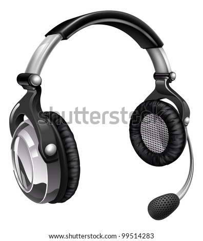 Illustration of a headset like those used for telesales, online chat or telephone customer helpdesk support. - stock vector