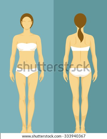 illustration of a healthy young woman from front and back view - stock vector