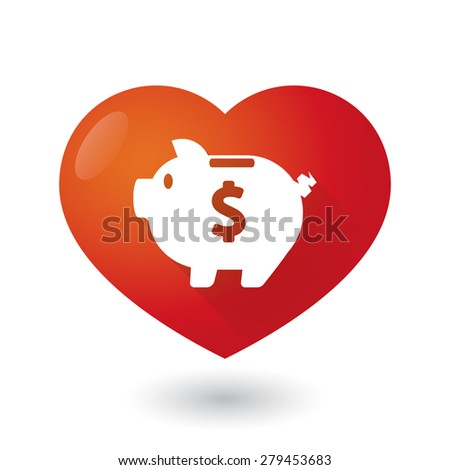 Illustration of a heart icon with a piggy bank - stock vector
