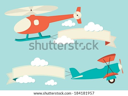 Illustration of a helicopter in the clouds  - stock vector