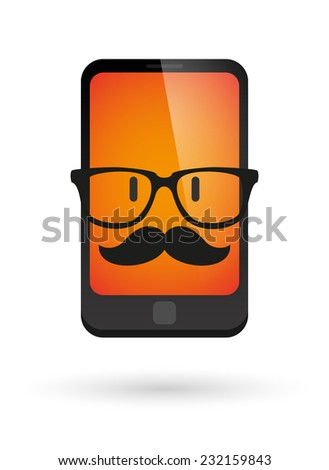 Illustration of a hipster   phone wearing glasses and moustache - stock vector