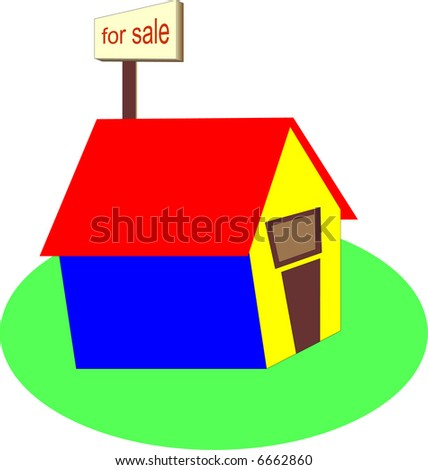 illustration of a home with a for sale sign - stock vector