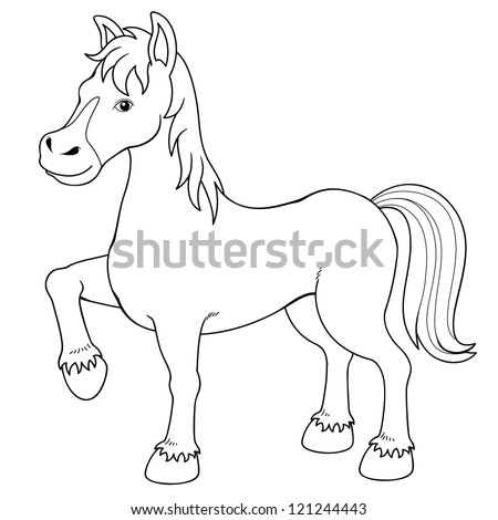 Illustration of a horse.Coloring book - stock vector