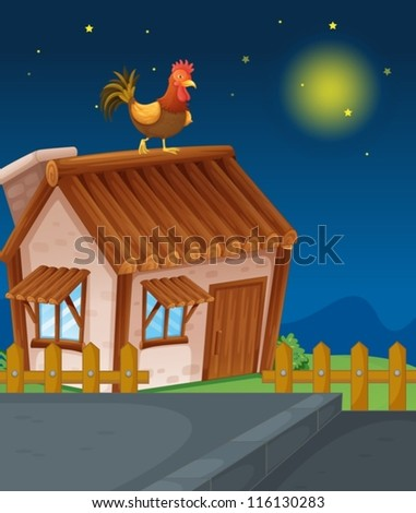 illustration of a house and hen in night - stock vector