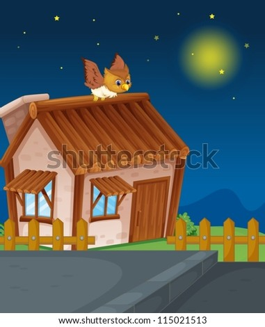 illustration of a house and owl in night - stock vector