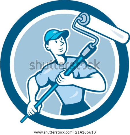 Illustration of a house painter handyman holding paint roller set inside circle on isolated background done in cartoon style. - stock vector