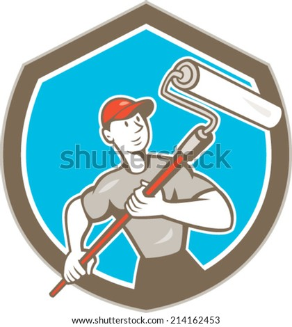 Illustration of a house painter handyman holding paint roller set inside shield crest on isolated background done in cartoon style. - stock vector