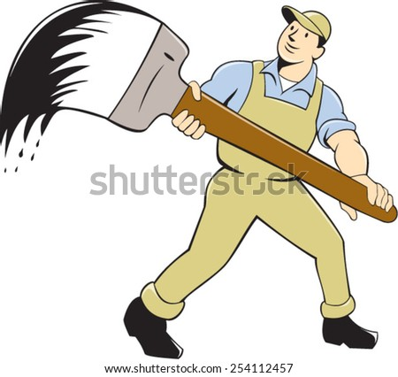 illustration of a house painter handyworker holding giant paintbrush brush viewed from front set inside circle on isolated background done in cartoon style. - stock vector