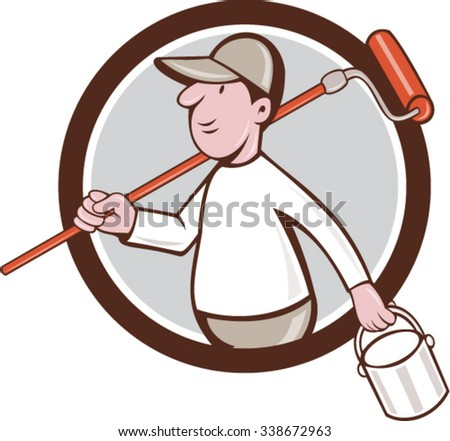Illustration of a house painter holding paintroller on shoulder and paint can on the other hand viewed from the side set inside circle on isolated background done in cartoon style. - stock vector