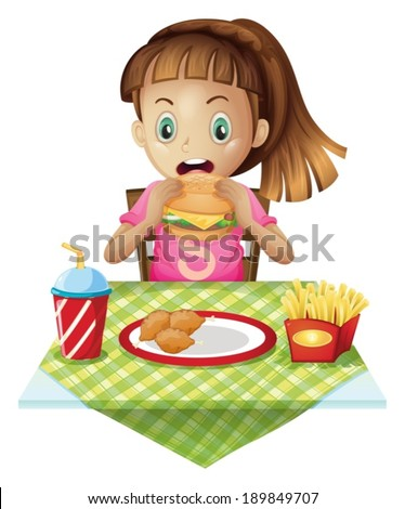 Illustration of a hungry child eating on a white background - stock vector