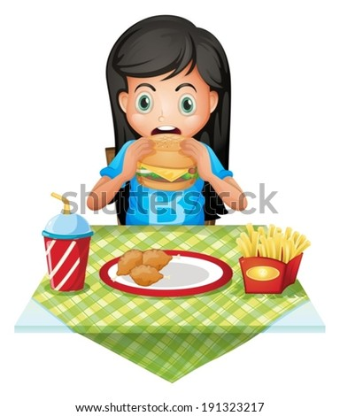 Illustration of a hungry girl eating at a fastfood restaurant on a white background - stock vector