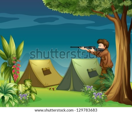 Illustration of a hunter in a campsite - stock vector