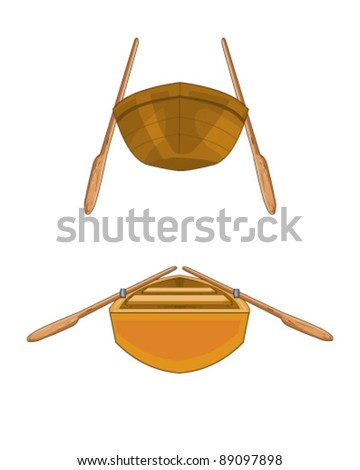 Illustration of a isolated wooden boat - stock vector