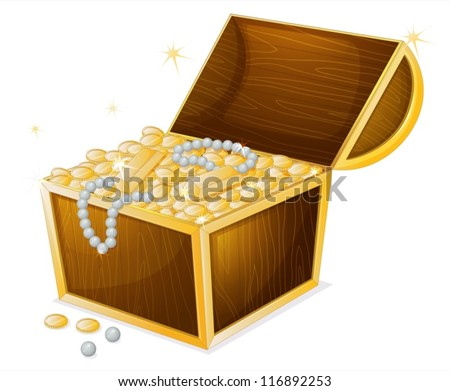 illustration of a jewellery and a box on a white background - stock vector