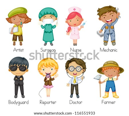 Illustration of a jobs and professions - stock vector