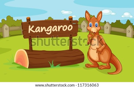 illustration of a kangaroo in a beautiful nature - stock vector