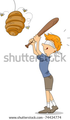 Illustration of a Kid About to Hit a Beehive - stock vector
