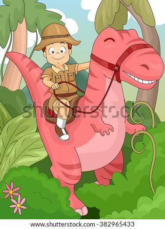 Illustration of a Kid Boy Riding on a Dinosaur for Adventure - stock vector