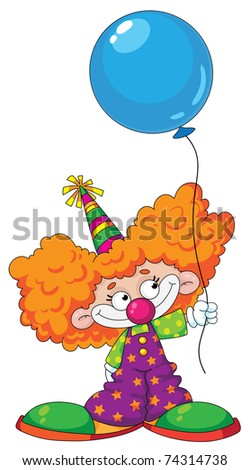 Illustration of a kid clown with blue baloon - stock vector