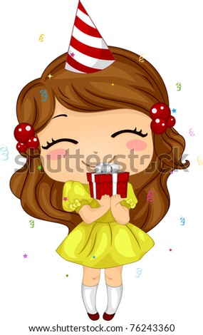 Illustration of a Kid Holding a Birthday Gift - stock vector