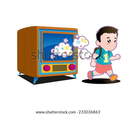 Illustration of a kid running out from TV - stock vector