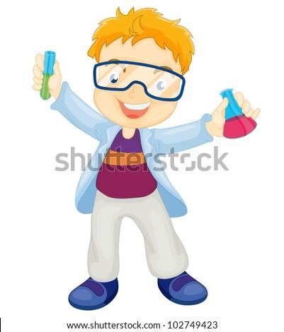 Illustration of a kid scientist - stock vector