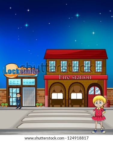 Illustration of a kid standing before a locksmith and fire station - stock vector