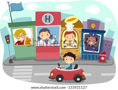 Illustration of a Kiddie Community - stock vector