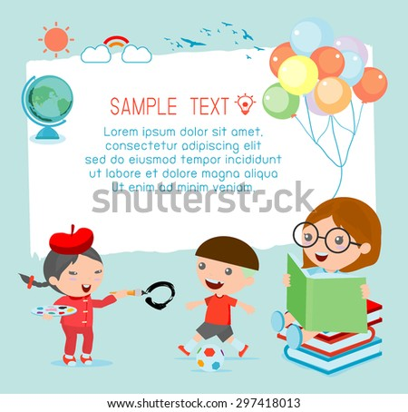 Illustration of a kids and beautiful background, happy children,  back to school  - stock vector