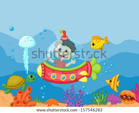 illustration of a kids in the submarine - stock vector