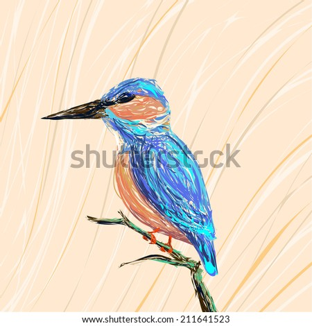 Illustration of a kingfisher bird sitting on a branch on a pastel background - stock vector